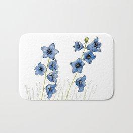 Campanula Little Bell Flower, bright blue floral print Bath Mat