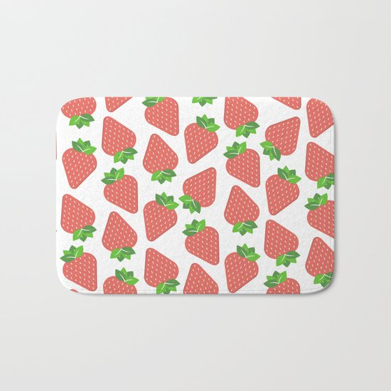 Strawberries Over White Bath Mat