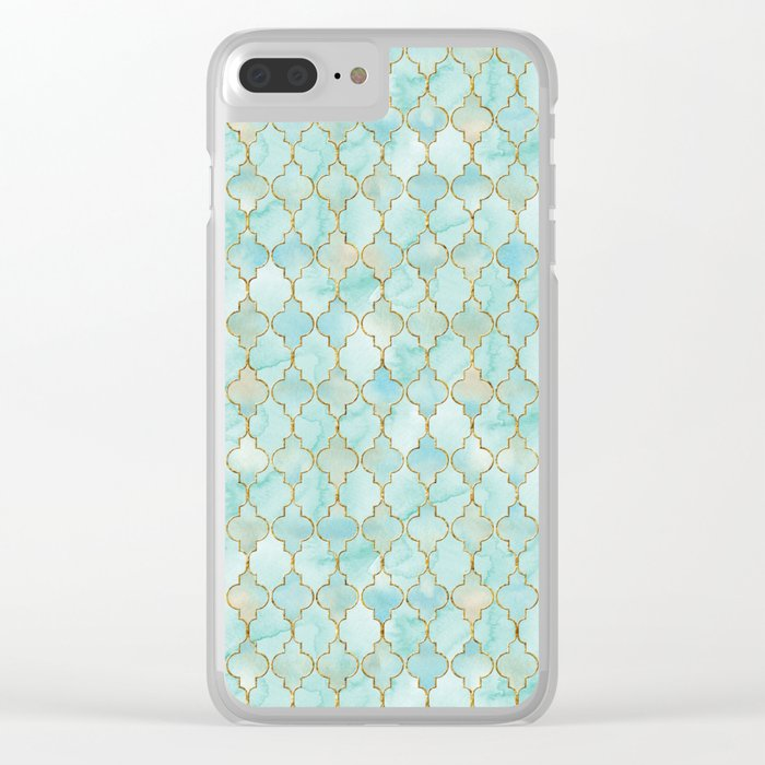 Luxury Aqua and Gold oriental pattern Clear iPhone Case