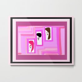 Profiles on Pink for Cancer Awareness Metal Print