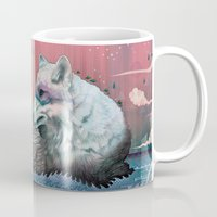 waves Mugs featuring Lone Wolf by Mat Miller