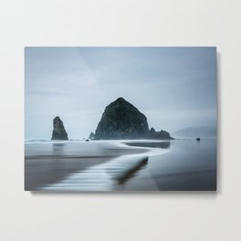 Incoming Waves Recede During Rainy Weather at Haystack Rock in Cannon Beach, Oregon Metal Print