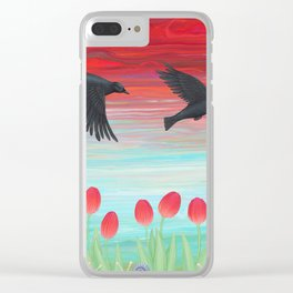 crows, tulips, & snails Clear iPhone Case