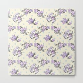 Vintage chic pastel lavender blue ivory roses polka dots pattern Metal Print
