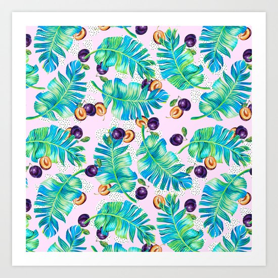 Pattern Plum & leaf Art Print