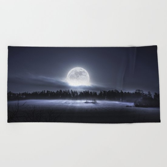 When the moon wakes up Beach Towel