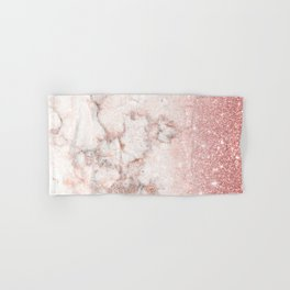 Elegant Faux Rose Gold Glitter White Marble Ombre Hand & Bath Towel