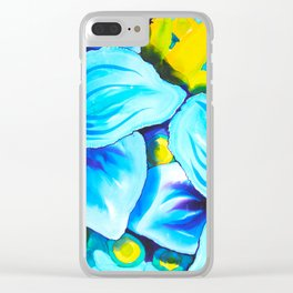 Blue Poppies 3 Clear iPhone Case