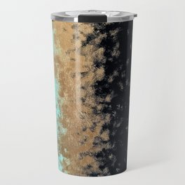 turquoise, gold, and black painting Travel Mug