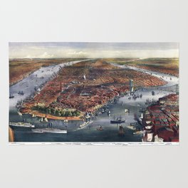Gang of new york city old map Father Day art print poster Rug