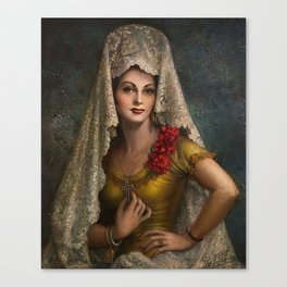 Spanish Beauty with Lace Mantilla and Comb by Jesus Helguera Canvas Print