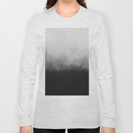 Minimalist Modern Black And white photography Landscape Misty Black Pine Forest Watercolor Effect Sp Long Sleeve T-shirt
