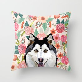 Husky floral pet portrait art print and dog gifts Throw Pillow
