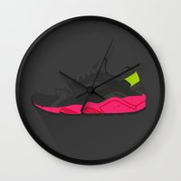 nike Wall Clocks featuring Nike Huarache by Maurice Creative
