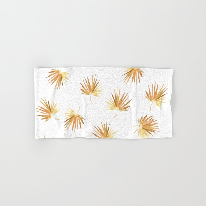 Golden Boho Palm Leaf Watercolor Hand & Bath Towel