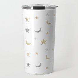 Gold and silver moon and star pattern Travel Mug