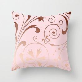 Rose Quartz Gold Komingo Throw Pillow