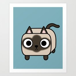 Cat Loaf - Siamese Kitty with Crossed Eyes Art Print