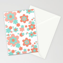 Coral and Mint Green Floral Stationery Cards