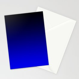 Black Blue Neon Nights Ombre Stationery Cards