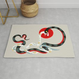Snake and flowers 3 Rug