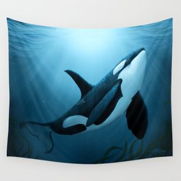"""""""The Dreamer"""" by Amber Marine ~ Orca / Killer Whale Art, (Copyright 2015) Wall Tapestry"""