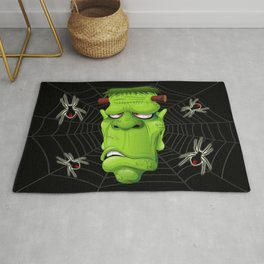 Frankenstein Ugly Portrait and Spiders Rug