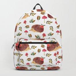 Little Hedgehog Searching Mushrooms In Woodland  Backpack
