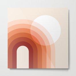 Mid Century Modern Geometric 79 in Earthy Terracotta Shades (Sun and Rainbow abstraction) Metal Print