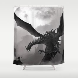 Fantastic Gruesome Giant Angry Dragon Flapping Wings Lair Ultra HD Shower Curtain