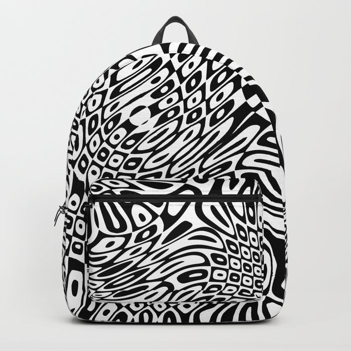 Black  and white psychedelic optical illusion Backpack