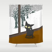 snow Shower Curtains featuring Snow by BATKEI