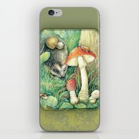 mushrooms iPhone & iPod Skins featuring Mushrooms by Natalie Berman