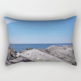 Blue Sea Beyond the Rocks Rectangular Pillow