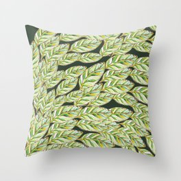 Calathea leaves flow_ watercolor Throw Pillow