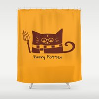furry Shower Curtains featuring Furry Potter  by MerryLittleDoodle