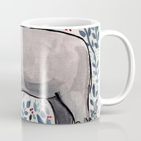 baby elephant Mugs featuring Baby Elephant by Nikolazza