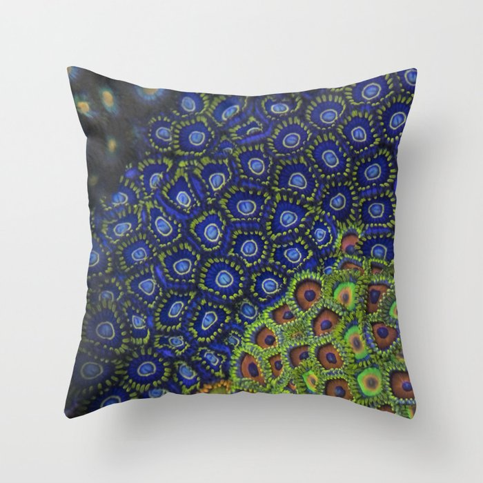 """Macro of Coral Zoanthus """"Blue Hornet"""" Throw Pillow"""