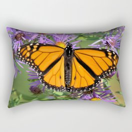 Monarch Butterfly on Wild Asters (square) Rectangular Pillow