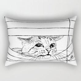 Cat in venitian blind Rectangular Pillow
