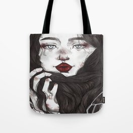 Lady Red Lips Tote Bag