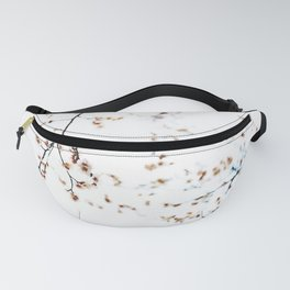 White cherry blossoms watercolor painting  Fanny Pack