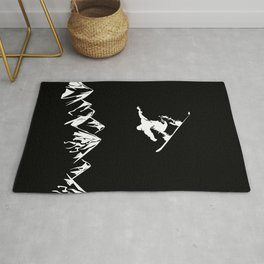 Rocky Mountain Snowboarder Catching Air Rug