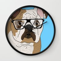 bulldog Wall Clocks featuring bulldog by Ainsley wilson