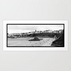 Tenby Harbour.Panoramic.B+W. Art Print