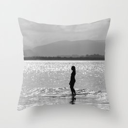 Byron Bay surfer girl at sunset Throw Pillow