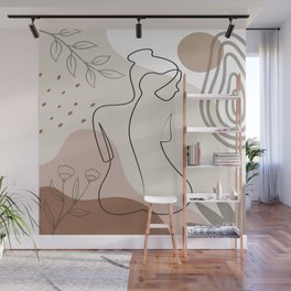 Set of naked woman sitting back one line. Poster cover. Minimal woman body. One line drawing. No 2/3 Wall Mural