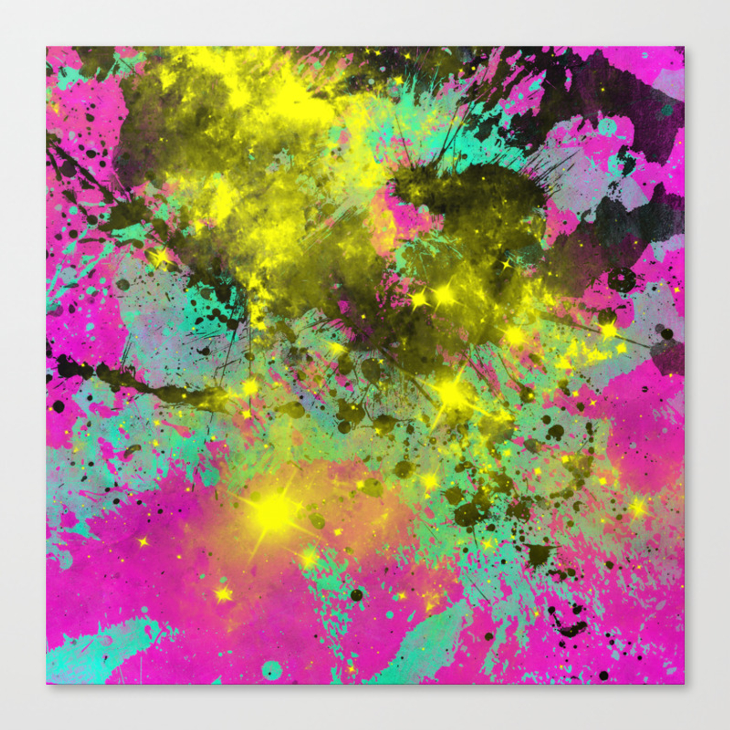 Stargazer abstract cyan black purple and yellow oil painting canvas print