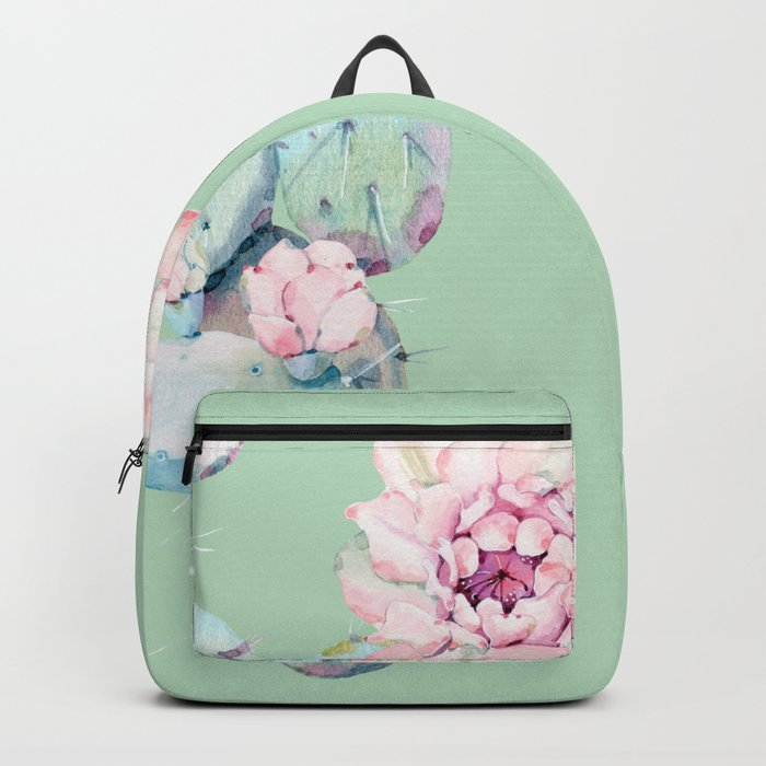 b772d82261 Rose Desert Cactus Mint Green + Pink Backpack by naturemagick