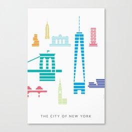 New York Skyline WTC Poster Color Canvas Print